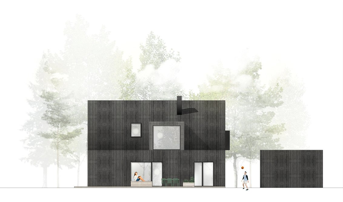 LOOP architects villa wood facade