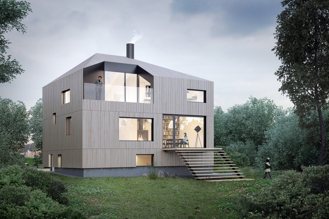 LOOP architects villa åbyhigh rendering